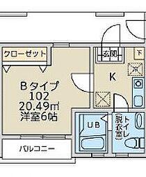 アンソレイユK 2階1Kの間取り