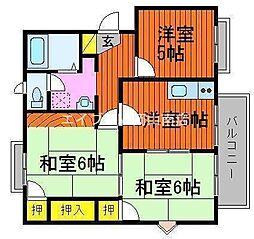 リブ宮崎B棟[2階]の間取り