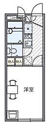 西武新宿線 狭山市駅 徒歩16分の賃貸マンション 2階1Kの間取り