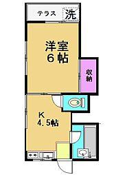 東京都世田谷区上祖師谷4丁目の賃貸アパートの間取り