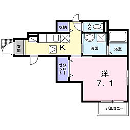 JR中央線 日野駅 徒歩14分の賃貸アパート 1階1Kの間取り