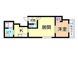 クオリティ第2ビル 3階1LDKの間取り
