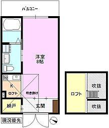 JR北陸新幹線 上田駅 徒歩21分の賃貸マンション 2階1SKの間取り