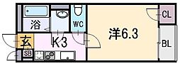 大阪府東大阪市小若江3丁目の賃貸アパートの間取り