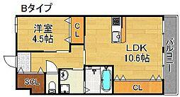 仮)東加賀屋アパートメント[1階]の間取り