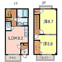 [テラスハウス] 愛知県岡崎市東大友町 の賃貸【/】の間取り