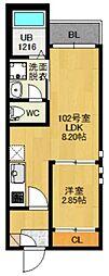 仙台市地下鉄東西線 卸町駅 徒歩10分の賃貸アパート 2階1LDKの間取り