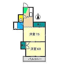 アゾノハイツ[3階]の間取り