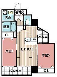 LE GRAND BLEU HAKATA 6階2LDKの間取り