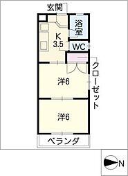 みつわシティマンション[1階]の間取り