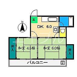 コーポ上町(2丁目)[3階]の間取り