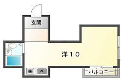 JPアパートメント守口VIII 4階ワンルームの間取り