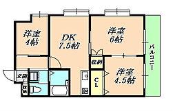 マリンクレール野田(満室)[4階]の間取り
