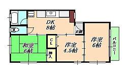 マンション清水[2階]の間取り