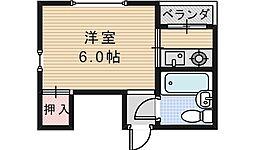 シャトー西田辺[201号室]の間取り