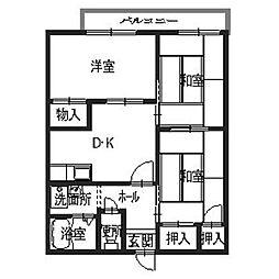 虹ヶ丘ハイツ[2階]の間取り