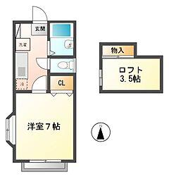 東京都小金井市東町2丁目の賃貸アパートの間取り