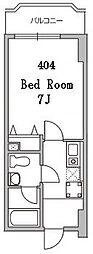 アパートメント21 4階1Kの間取り