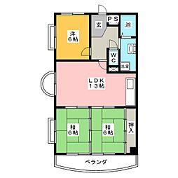 アバンハウスII[6階]の間取り