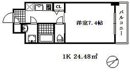 ワールドアイ神戸湊町 1階1Kの間取り