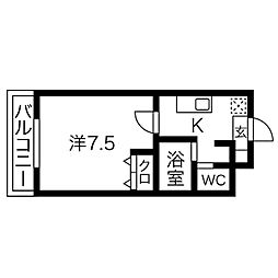 A・City柴田本通 4階1Kの間取り