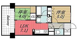 JR京葉線 検見川浜駅 徒歩9分の賃貸マンション 2階2DKの間取り