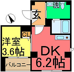 平井SKハイツ 2階1DKの間取り