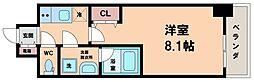 S-RESIDENC阿波座WEST 7階1Kの間取り