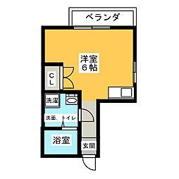 Hatsudai Flat 2階ワンルームの間取り