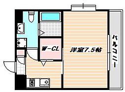 東京メトロ東西線 浦安駅 徒歩8分の賃貸マンション 2階1Kの間取り