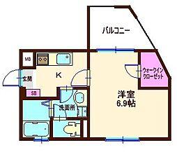 神奈川県横浜市神奈川区六角橋3丁目の賃貸マンションの間取り