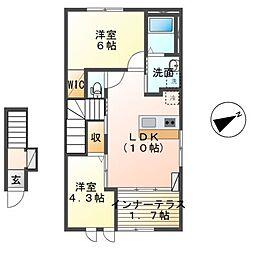 仮)大室新築スターテラスII 2階2LDKの間取り