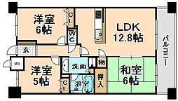 兵庫県伊丹市中央5丁目の賃貸マンションの間取り