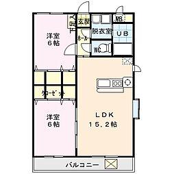 青葉台ファーストマンション 4階2LDKの間取り