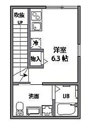 東京都世田谷区奥沢8丁目の賃貸アパートの間取り