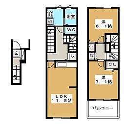 愛知県みよし市根浦町3丁目の賃貸アパートの間取り