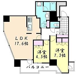 レジデンスタワー上本町[5階]の間取り