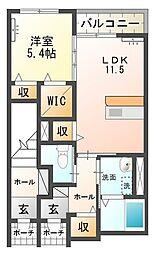 (仮称)石岡市東光台アパート新築工事[105号室号室]の間取り