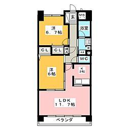 愛知県名古屋市中村区鳥居通3丁目の賃貸マンションの間取り