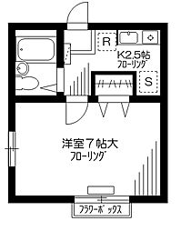 東京都世田谷区成城7丁目の賃貸アパートの間取り