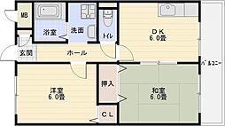 シャトー立田川[4階]の間取り