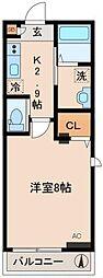 東急東横線 武蔵小杉駅 徒歩10分の賃貸マンション 3階1Kの間取り