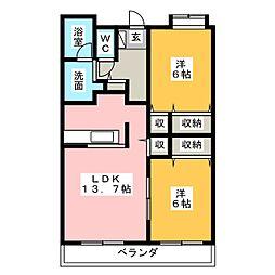 静岡県静岡市葵区瀬名川2丁目の賃貸マンションの間取り