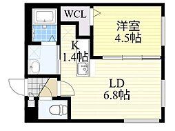 札幌市電2系統 行啓通駅 徒歩2分の賃貸マンション 3階1LDKの間取り