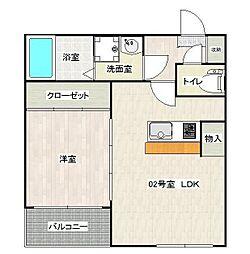 alcasa竹ノ塚[102号室]の間取り