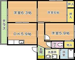 三洋タウン本城 B棟[1階]の間取り