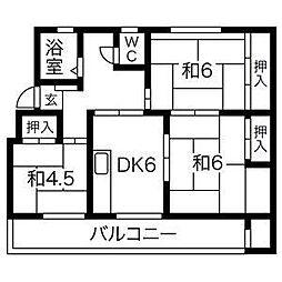 鍋屋上野住宅2号棟[3階]の間取り