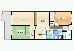 朝日プラザ松原B[1階]の間取り