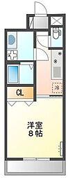 (仮称)大阪狭山市半田5丁目新築アパート 2階1Kの間取り