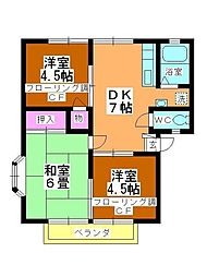 タキシマハイツC棟[201号室]の間取り
